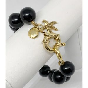 J. Crew Black Beads with Starfish Charm Bracelet